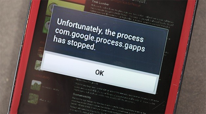 How to Fix the com.google.process.gapps has stopped Error