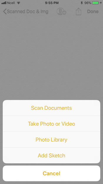 Notes app scanned document