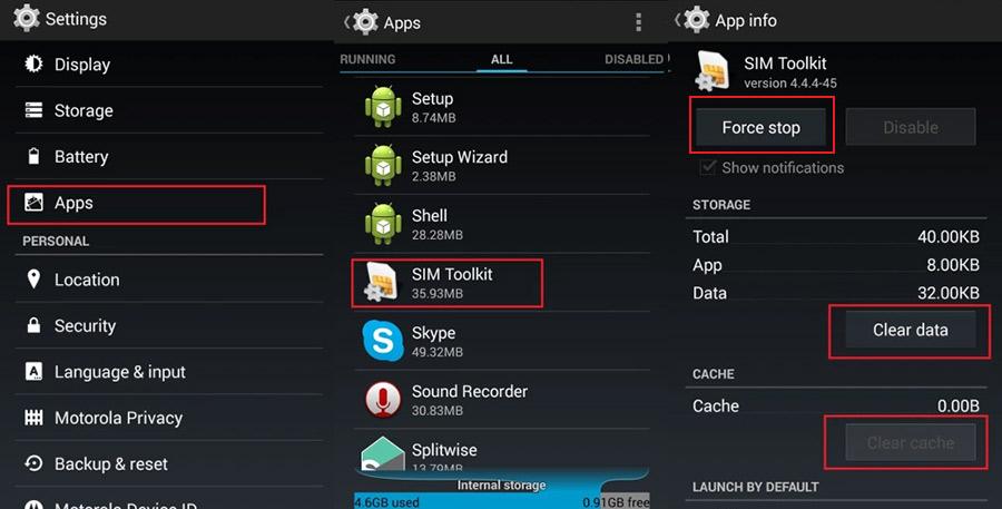 Clear Cache and Data of SIM toolkit app - AppsLova com